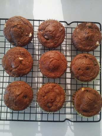Triple Chocolate Chip Muffins Baked
