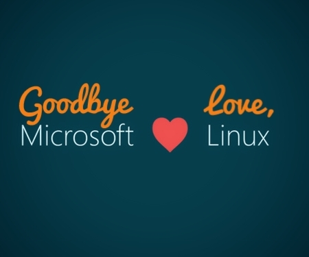 goodbye microsoft love linux with heart